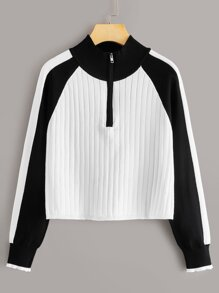 Contrast Panel Raglan Sleeve Half Zip Jumper