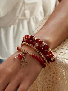 Chain Tassel Beaded Bracelet 4pcs
