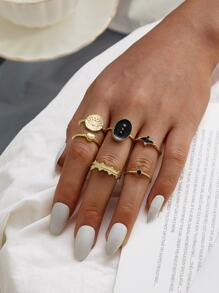 Geometric Decor Ring 6pcs