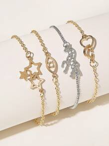 Heart & Star Decor Chain Bracelet 4pcs