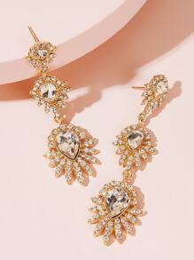 Tiered Rhinestone Engraved Flower Drop Earrings 1pair