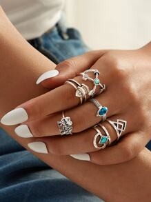Turquoise & Elephant Decor Ring 6pcs