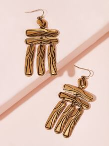 Geometric Tassel Drop Earrings 1pair