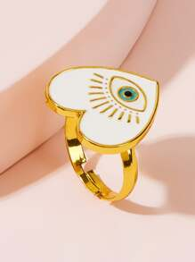 Eye Heart Decor Ring 1pc