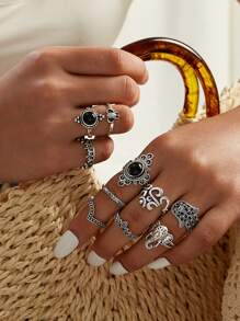 Hand & Elephant Head Decor Ring 10pcs