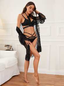 Eyelash Lace Lingerie Choker With Mesh Thong & Robe