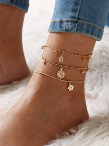 Rhinestone Engraved Flower Decor Anklet 3pcs