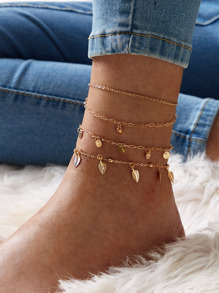 Leaf & Disc Decor Chain Anklet 3pcs