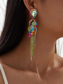 Rhinestone Engraved Parrot Drop Earrings 1pair