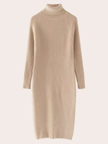 High Neck Raglan Sleeve Sweater Dress