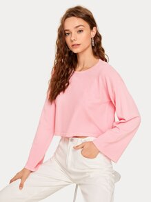 Drop Shoulder Solid Crop Jumper