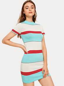 Stripe Short Sleeve Bodycon Sweater Dress