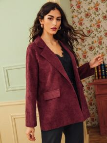 Lapel Neck Pocket Side Corduroy Blazer