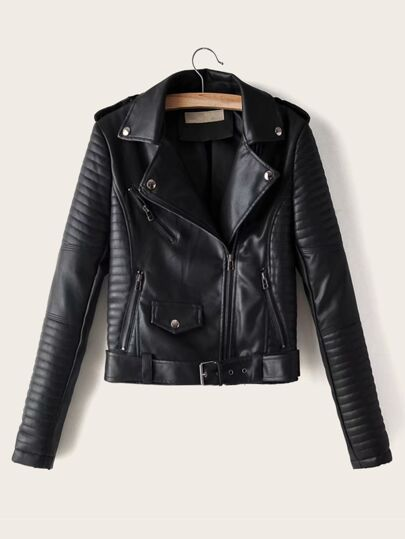 Lapel Neck Zip Up PU Biker Jacket