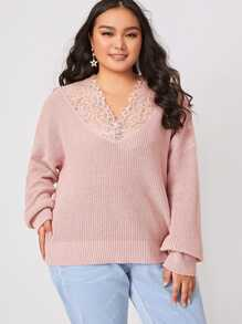 Plus Lace Panel Drop Shoulder Sweater