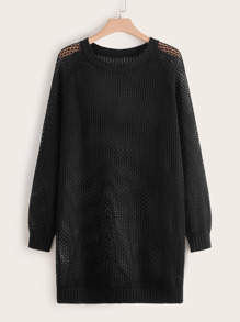 Plus Pointelle Knit Sheer Longline Sweater