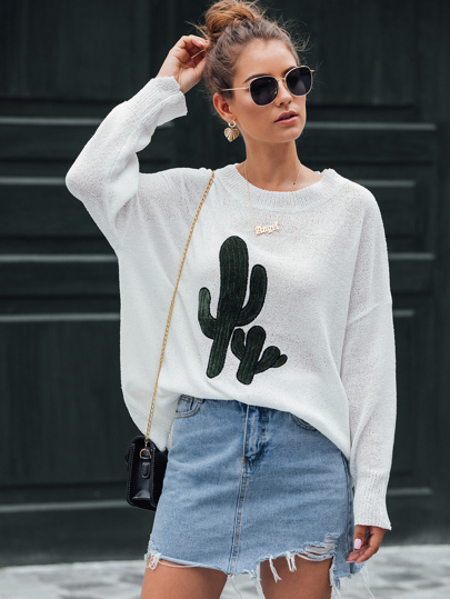 Cactus Embroidery Drop Shoulder Oversized Sweater