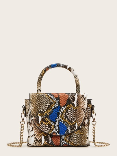 Snakeskin Print Chain Satchel Bag