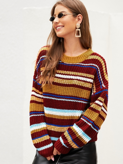 Colorful Striped Chunky Knit Sweater