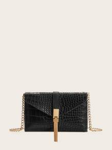 Tassel Decor Croc Embossed Chain Bag