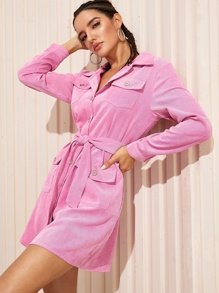 Pocket Button Front Belted Corduroy Shirt Dress