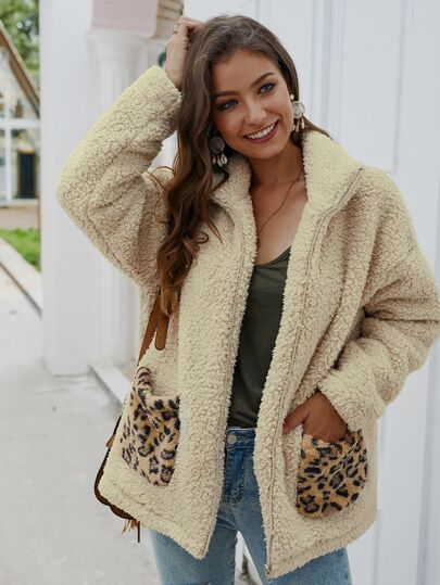 Contrast Leopard Pocket Zip Up Teddy Jacket