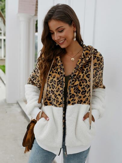 Contrast Leopard Drawstring Hooded Teddy Jacket