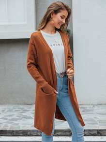 Solid Dual Pocket Open Front Longline Cardigan
