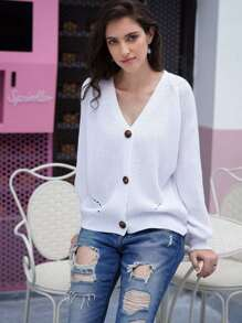 Solid Eyelet Button Front Cardigan