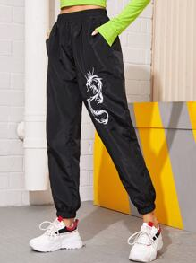 Dragon Embroidery Elastic Waist Windbreaker Pants