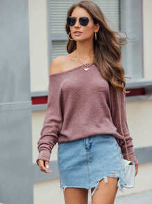 Solid Batwing Sleeve Round Neck Sweater