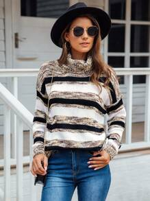 High Neck Space Dye Striped Sweater