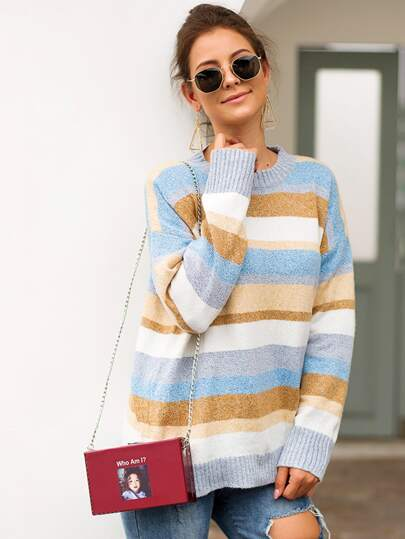 Space Dye Striped Crew Neck Sweater