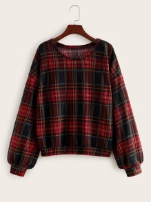 Plaid Bishop Sleeve Round Neck Sweatshirt