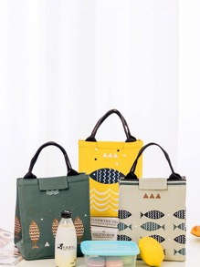 Cartoon Fish Print Lunch Bag 1pc