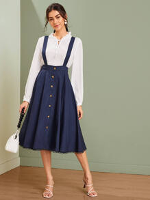 Button Front Flare Hem Pinafore Skirt