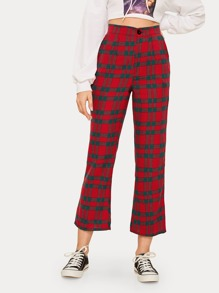 Tartan High Rise Flare Leg Pants