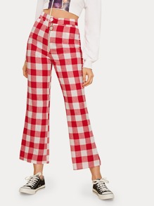 Gingham O-ring Zip High Rise Pants