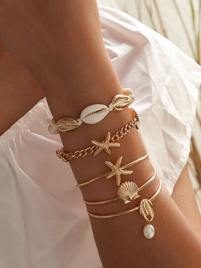 Starfish & Shell Decor Bracelet 5pcs