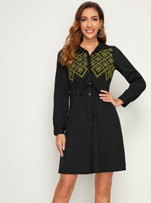 Tribal Embroidery Drawstring Waist Shirt Dress