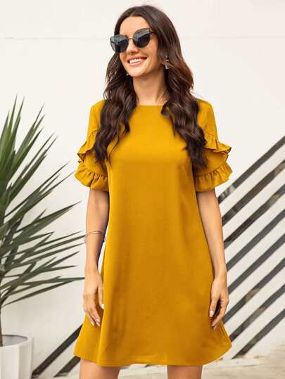 Solid Ruffle Sleeve Tunic Dress