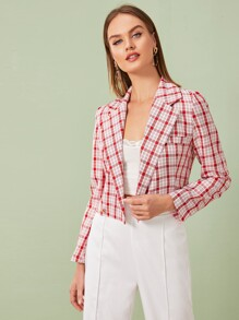 Plaid Button Detail Lapel Crop Blazer