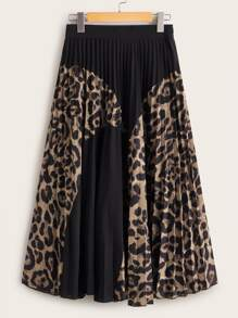 Contrast Leopard Panel Elastic Waist Pleated Skirt