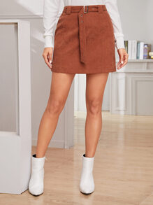 Solid Belted Sheath Corduroy Skirt