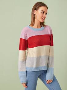 Round Neck Cut And Sew Sweater