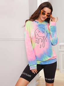 Tie Dye Cartoon Graphic Drawstring Hooded Sweatshirt