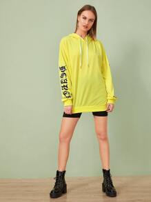 Neon Yellow Letter Print Drawstring Longline Hoodie