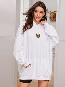 Butterfly Embroidery Drawstring Oversized Hoodie