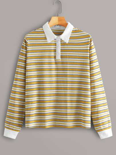 Contrast Collar Half Placket Striped Polo Tee