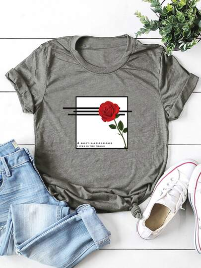 Round Neck Rose And Slogan Graphic Tee